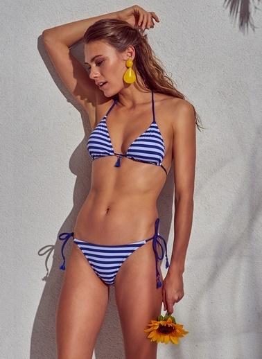 Morhipo Beach Lacivert Beyaz Çizgili Bikini Lacivert